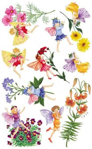 Tatouage Designs Wall Mural 9 Fairies with Flowers