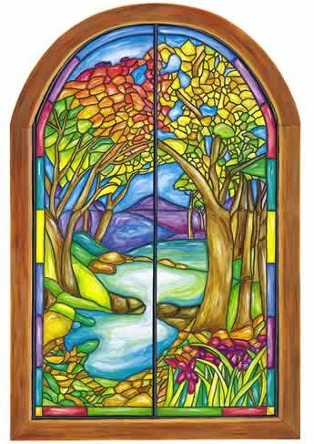 Tatouage Designs Wall Mural Stained Glass Window