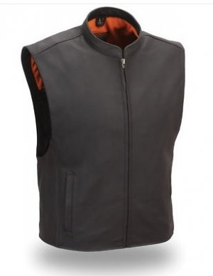 First Classics Men's Leather Zip Front  Club Patch Vest FIM656-CSL, s-2xl, black