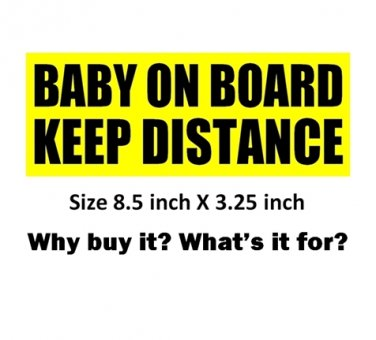 2 BABY ON BOARD KEEP DISTANCE sign bumper stickers to stop tailgaters from tailgating