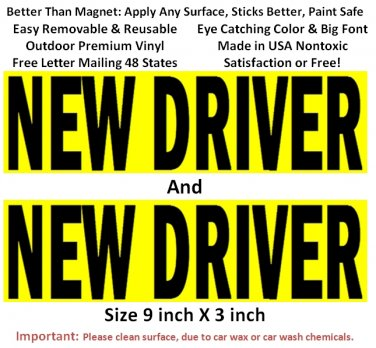 2 NEW DRIVER bumper stickers for student driver