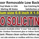 NO SOLICITING sticker sign to keep solicitors away! -Removable