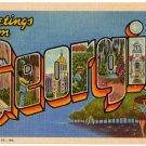 GEORGIA large letter linen postcard Teich