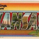 KANSAS large letter linen postcard Teich