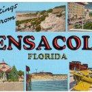 PENSACOLA, Florida large letter linen postcard Kropp