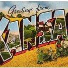KANSAS large letter linen postcard Kropp