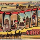 FLAGSTAFF, Arizona large letter linen postcard Teich