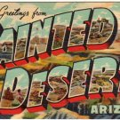 PAINTED DESERT, Arizona large letter linen postcard Teich