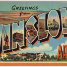 WINSLOW, Arizona large letter linen postcard Teich