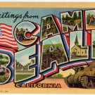 CAMP BEALE, California large letter linen postcard Teich