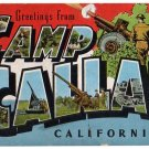 CAMP CALLAN, California large letter linen postcard Kropp