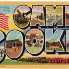 CAMP COOKE, California large letter linen postcard Teich