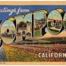 LOMPOC, California large letter linen postcard Teich