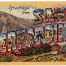 SAN BERNARDINO, California large letter linen postcard Teich