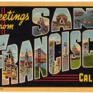 SAN FRANCISCO, California large letter linen postcard Teich