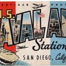 U.S. NAVAL AIR STATION, California large letter linen postcard Kropp