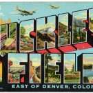 BUCKLEY FIELD, Colorado large letter linen postcard Teich
