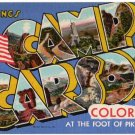 CAMP CARSON, Colorado large letter linen postcard Teich