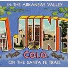 LA JUNTA, Colorado large letter linen postcard Teich