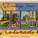 PUEBLO, Colorado large letter linen postcard Teich