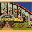 BRIDGEPORT, Connecticut large letter linen postcard Teich