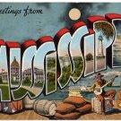 MISSISSIPPI large letter linen postcard Kropp