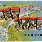 FORT MYERS, Florida large letter linen postcard Tichnor