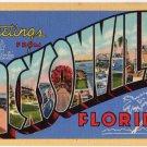 JACKSONVILLE, Florida large letter linen postcard Teich