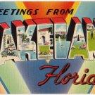 LAKELAND, Florida large letter linen postcard Tichnor