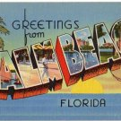 PALM BEACH, Florida large letter linen postcard Tichnor