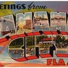 PANAMA CITY, Florida large letter linen postcard Tichnor