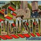ST. AUGUSTINE, Florida large letter linen postcard Teich