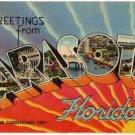 SARASOTA, Florida large letter linen postcard Tichnor