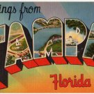 TAMPA, Florida large letter linen postcard Tichnor