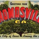 THOMASVILLE, Georgia large letter linen postcard Teich