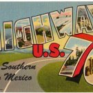 HIGHWAY U.S. 70, New Mexico large letter linen postcard Teich