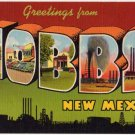 HOBBS, New Mexico large letter linen postcard Teich