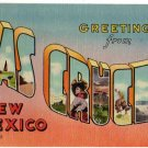 LAS CRUCES, New Mexico large letter linen postcard Colourpicture