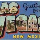 LAS CRUCES, New Mexico large letter linen postcard Teich