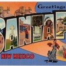 SANTA FE, New Mexico large letter linen postcard Teich