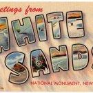 WHITE SANDS, New Mexico large letter linen postcard Teich