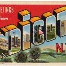 ENDICOTT, New York large letter linen postcard Teich