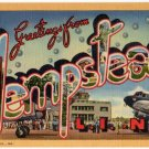 HEMPSTEAD, New York large letter linen postcard Teich