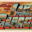 LAKE GEORGE, New York large letter linen postcard Teich