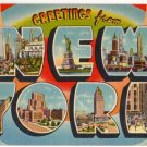 NEW YORK large letter linen postcard Tichnor