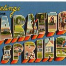 SARATOGA SPRINGS, New York large letter linen postcard Tichnor