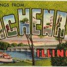 MCHENRY, Illinois large letter linen postcard Teich