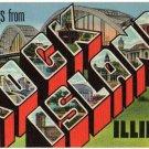 ROCK ISLAND, Illinois large letter linen postcard Teich