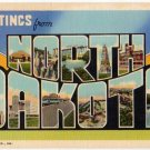 NORTH DAKOTA large letter linen postcard Teich