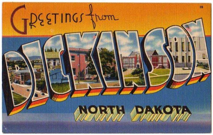 Dickinson north dakota large letter linen postcard tichnor for Jewelry store dickinson nd